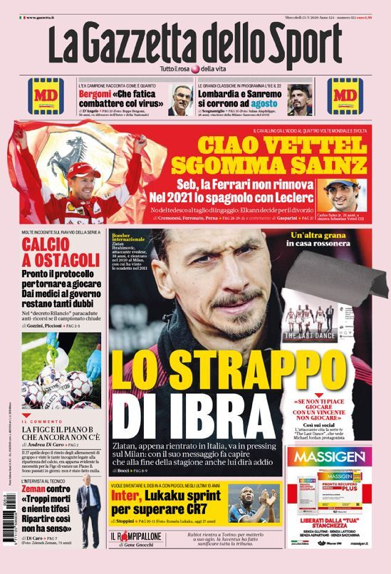 La Gazzetta dello Sport, cover nel 2020 Sport, Calcio