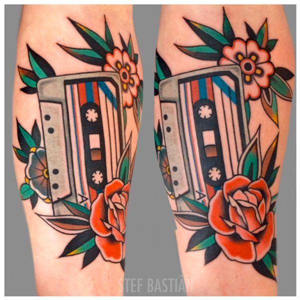 Stef Bastian - royal tattoo - cassette tape tattoo