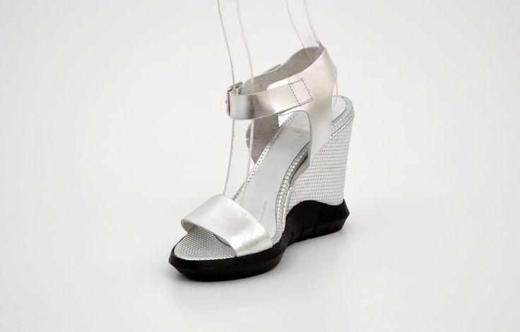 Sandale damă casual gri din piele naturală - Femei / Sandale casual - GiAnni