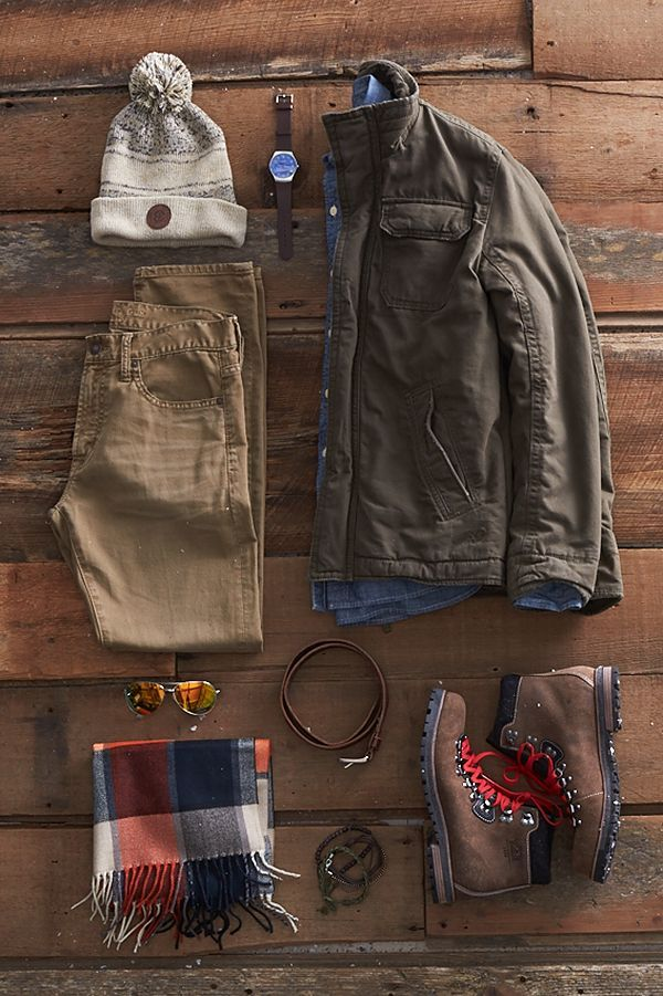 Start with iconic styles (like this rustic shawl cardigan) and layer all his favorite finishing touches on top.