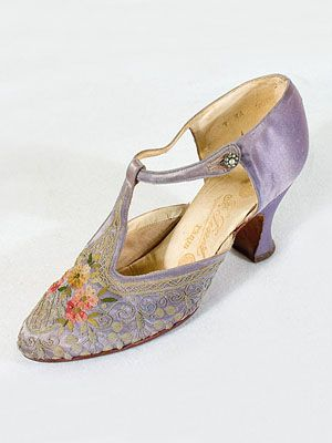 Tambour-embroidered lavender satin evening shoes by Francois Pinet, French, c. 1925.