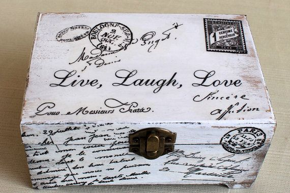 Vivir amar reír. Joyería de madera caja shabby chic por ArtDidi