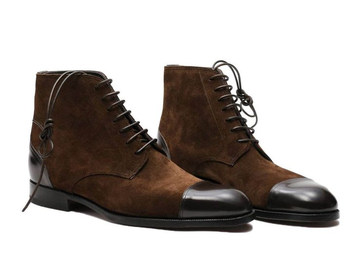 Handmade Brown Ankle High Boots, Cap Toe Men Dress Leather Suede Boots For Men - Boots