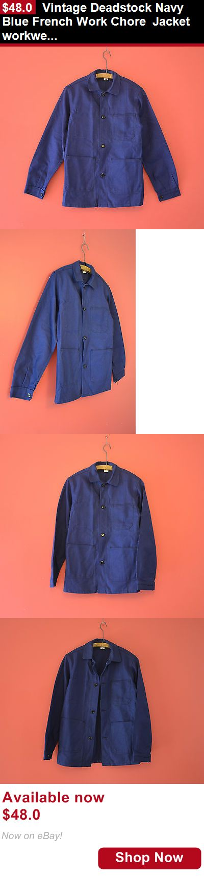 Men vintage clothing and shoes: Vintage Deadstock Navy Blue French Work Chore Jacket Workwear Folk Medium M BUY IT NOW ONLY: $48.0