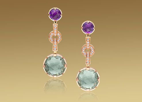 bulgari parentesi cocktail long earrings pink gold with green quartz ameythysts and pave diamonds