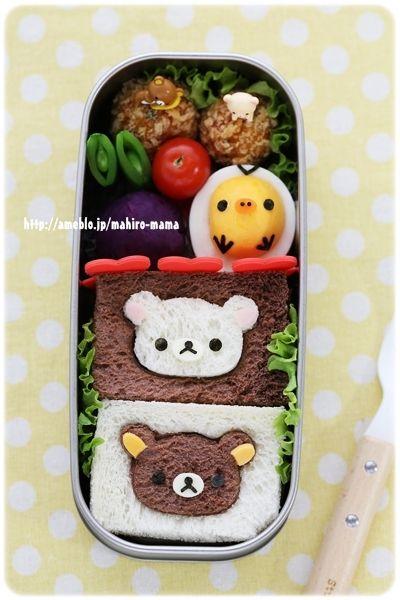 リラックマ&コリラックマのサンドイッチ弁当*キャラ弁 |momoオフィシャルブログ「キミと一緒に ~momo's obentou*キャラ弁~」Powered by Ameba