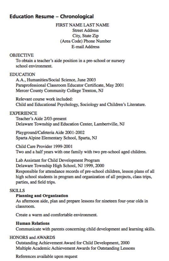 example of teacher aide resume    exampleresumecv