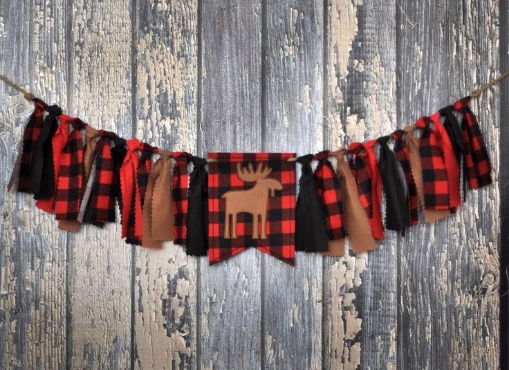 Shabby Rag Flag Fabric High Chair Banner - Lumberjack First Birthday - Red Black Buffalo Plaid Birthday Party Cake Smash Decor Highchair