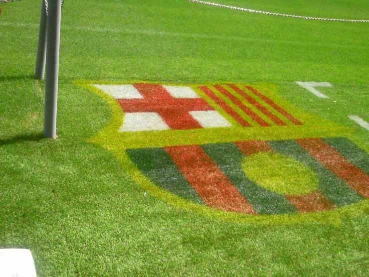 Foolball Club Barcelona arena green grass logo