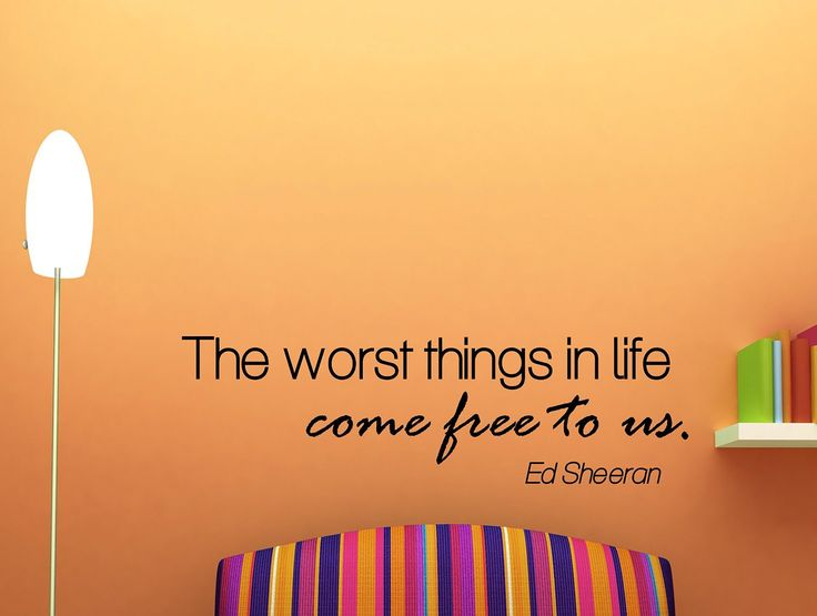 """Ed Sheeran Quote Inspirational Wall Decal Typography Home Décor """"The Worst Things in Life"""" 42x13 Inches"""