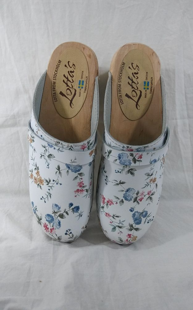 ac4e1d3d1c2 Lotta From Stockholm Size 40 US 9.5 Clogs Slip On Mules Floral Wood   LottafromStockholm  Clogs  swedishclogs