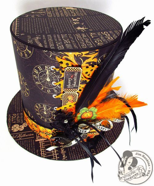 This amazing Happy Haunting Top Hat is by Jim Hankins, the Gentleman Crafter! What a fun and easy craft for Halloween! It even has a mini inside!! #graphic45 #DIY
