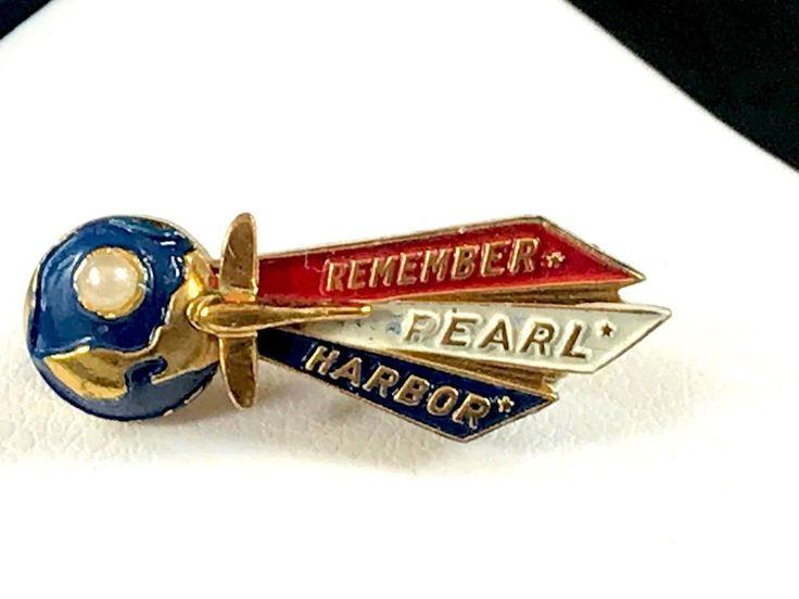 RARE SPECIAL WALTER LAMPL ENAMEL PATRIOTIC WW2 REMEMBER PEARL HARBOR LAPEL PIN #WalterLampl
