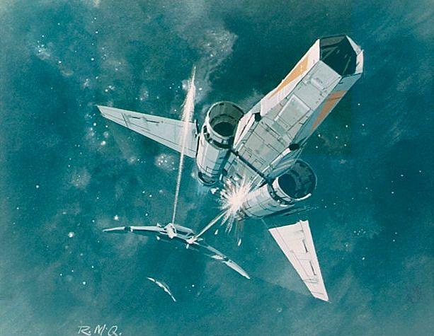 Ralph McQuarrie's concept art for Battlestar Galactica.