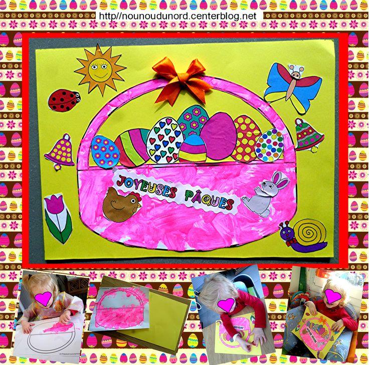Panier de Pâques garni d'oeufs et décoré autour de jolies gommettes printanières http://nounoudunord.centerblog.net/4364-panier-de-paques-garni-oeufs