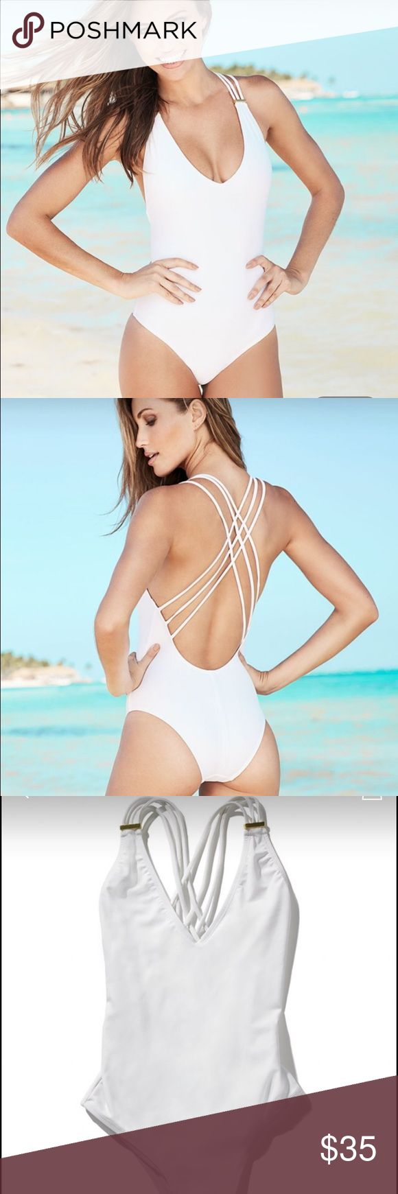 "Adore Me Swim New never worn adore me me swimsuit in style ""Kaia"". This is a super cute white one piece with crossing straps in the back and gold hardware on the front. This is a super flattering swim suit! I accept reasonable offers💕 Adore Me Swim One Pieces"