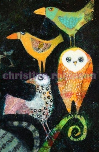 owl and birds by Christine Robinson.   Lovely!  I think it would be beautifully done in fiber, as well.