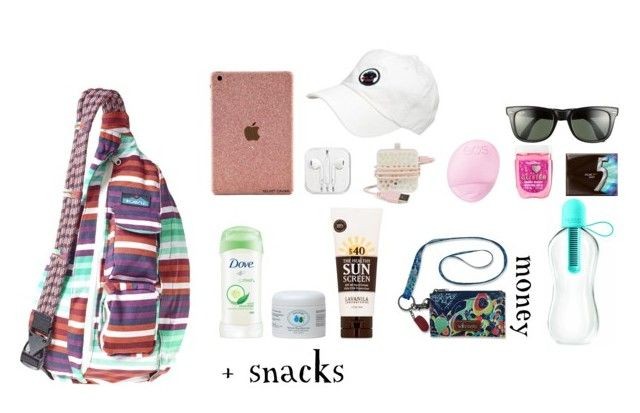"""What's Inside My Bag Right Now "" by babybutter ❤ liked on Polyvore featuring Kavu, Bando, Eos, Lavanila, Sakroots, Ray-Ban and needsleep"