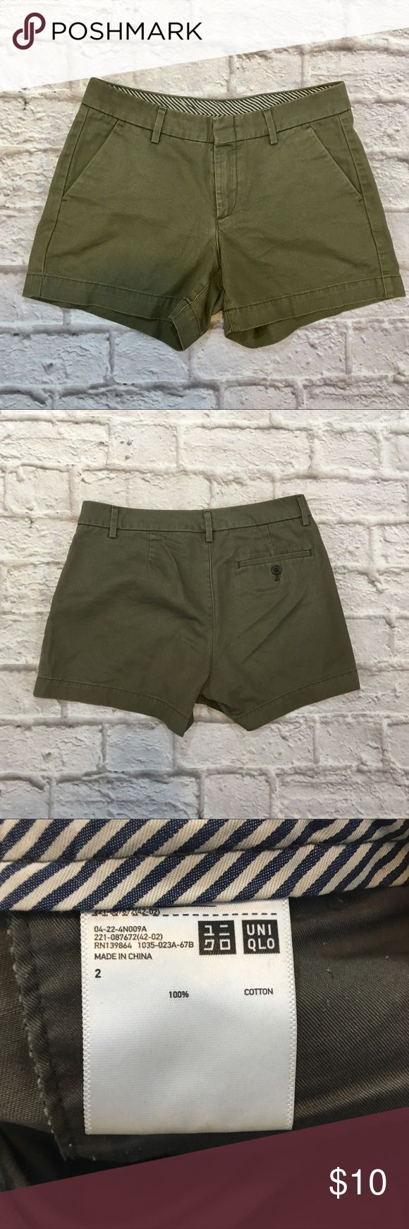 Uniqlo twill shorts Army green classic short. Size 2. Couple small spots on the back- see pic. Uniqlo Shorts