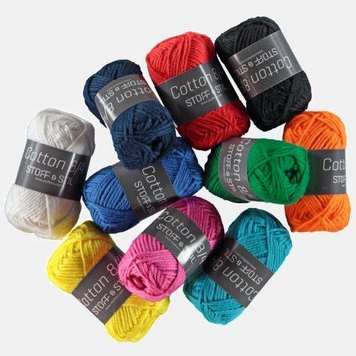 Garn Cotton 8/4 10x10g nøgler mix farve1 - STOFF & STIL