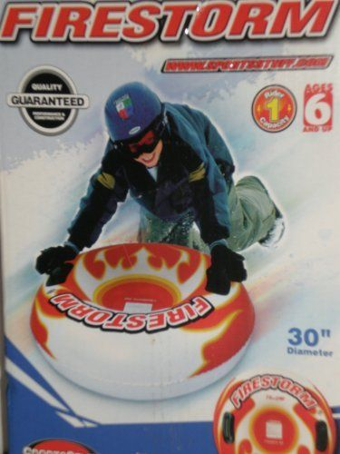 "Firestorm Snow Tube 30"" Diameter by SportsStuff. $12.85. 30-inch-diameter, one-rider snow tube. Features heavy-gauge PVC bladder with cold-crack additive, oversized molded handles, heat-sealed seams, safety valve, and slick bottom. For ages 6 and up."