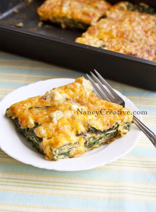 Cheesy Spinach Bake...made with fresh baby spinach!- TRIED IT-Hubby Loved it- Even had for breakfast as leftovers!