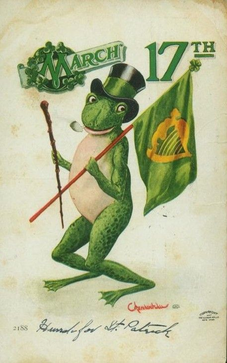 What else but a frog on a vintage St Patrick's Day postcard (it's green!) circa 1910