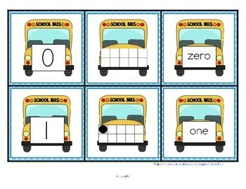 ***FREE***  This is a set of number cards with a back to school (bus) theme, 0-10. Three cards for each number - the number, a ten-frame representation, and the number word. Use for recognition, sequence, memory games, hiding and finding games, and of course, matching.  6 pages