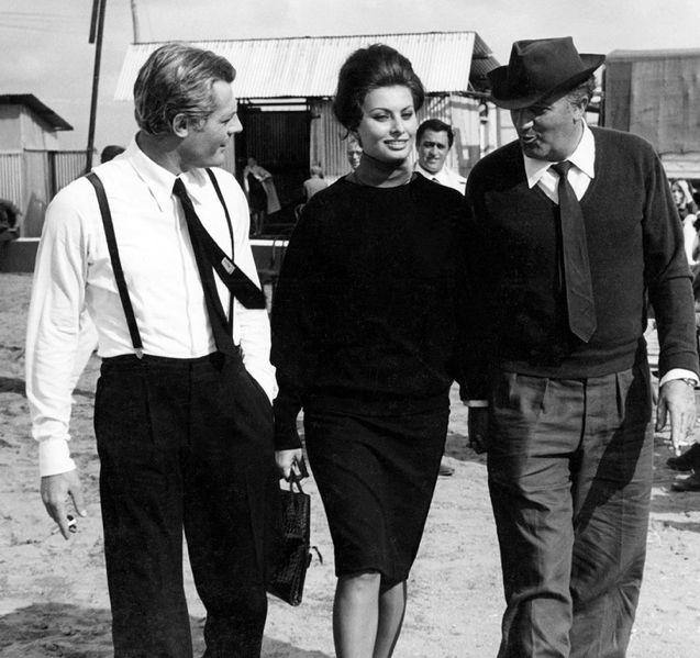 """Marcello Mastroianni, sofia Loren and Federico Fellini on the set of """"8½"""", ca 1962."""