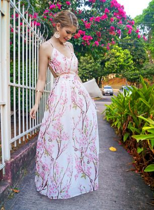 Apricot Florals V-neck Spaghetti Straps Backless Maxi Dress -SheIn(Sheinside)