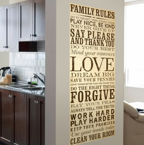 Family Rules Canvas Wall Art  #home #decor #storage #cleaning #house #kitchen #beauty #fashion #home #livingroom #entry #wordart #quotes #sayings #inspiration #motivation