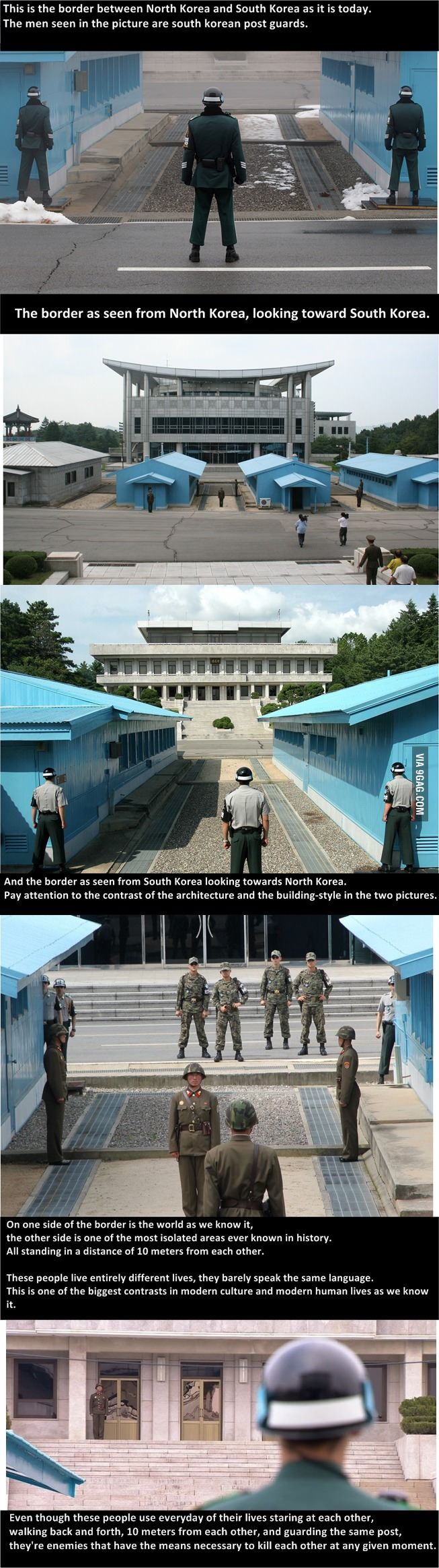 North Korea and South Korea's border, their contrasts, and their lives