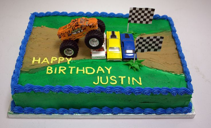 Monster Jam Cake - The truck and cars are not edible. The kid the cake was made for wanted toys on his cake so he could play with them after.