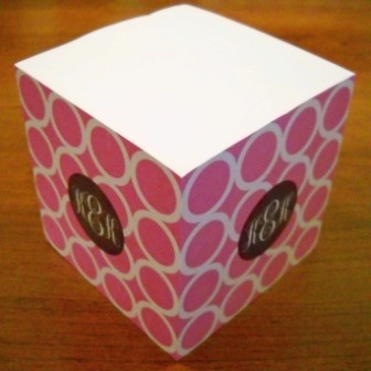 Clairebella personalized sticky note cube hoopla pink for Clairebella