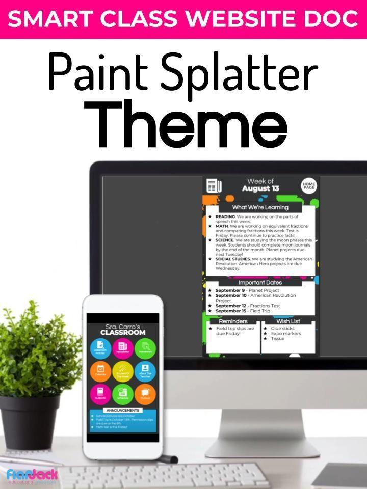 paint splatter smart class website doc google slides style