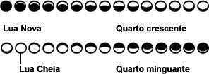 Representação gráfica correta das fases lunares