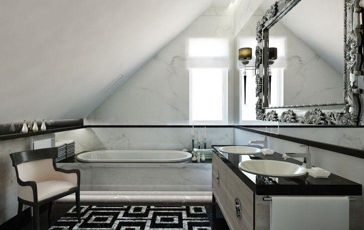 Wystrój łazienki w kamieniu naturalnym. Główne założenia aranżacji to czarno biała kolorystyka oraz eklektyczne dodatki i szlachetne materiały.