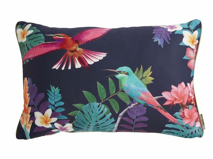 coussin, colibri, colibri pearl, home spirit, imprimé oiseaux, birds, bleu marine, collection printemps été 2015, fleurs