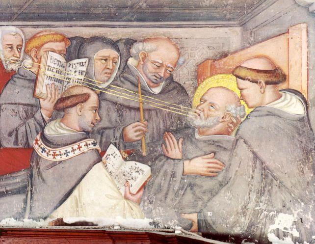 St. Augustinus van Hippo. - 1420/30(?) Plafondschildering door Ottaviano Nelli. Italië, Gubbio, Sant 'Agostino Dood van Augustinus te Hippo.