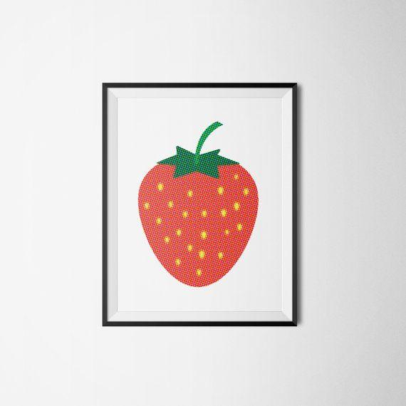 STRAWBERRY fruit frukt jordgubbe retro Art print A3 by Itchyprints