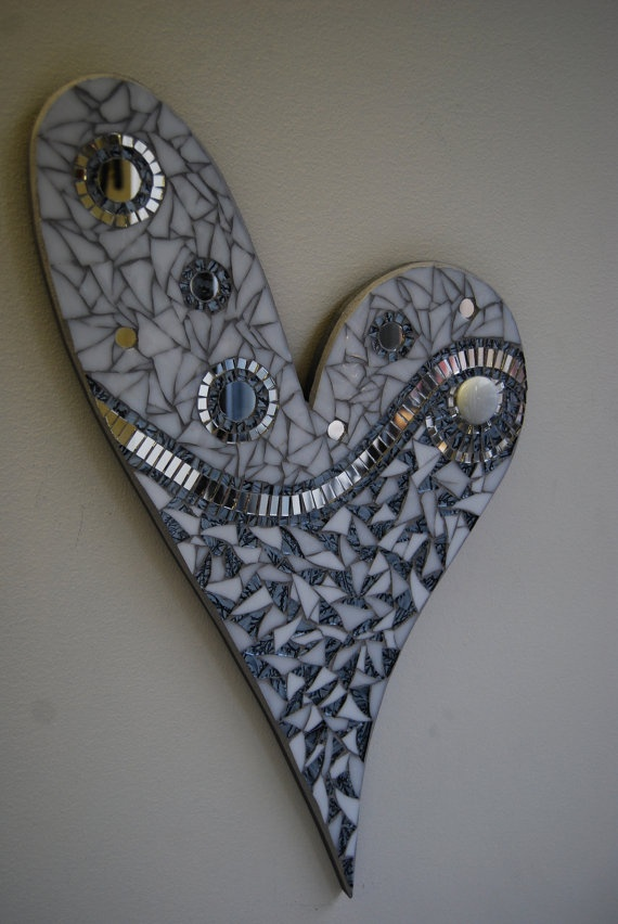 Stained glass mosaic heart with mirror accents on by GradaMosaics, $115.00