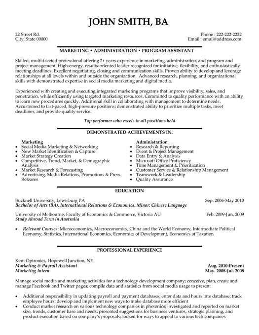 Click Here to Download this Marketing and Payroll Assistant Resume Template! http://www.resumetemplates101.com/Administration-resume-templates/Template-67/