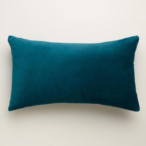 One of my favorite discoveries at WorldMarket.com: Teal Velvet Lumbar Pillow