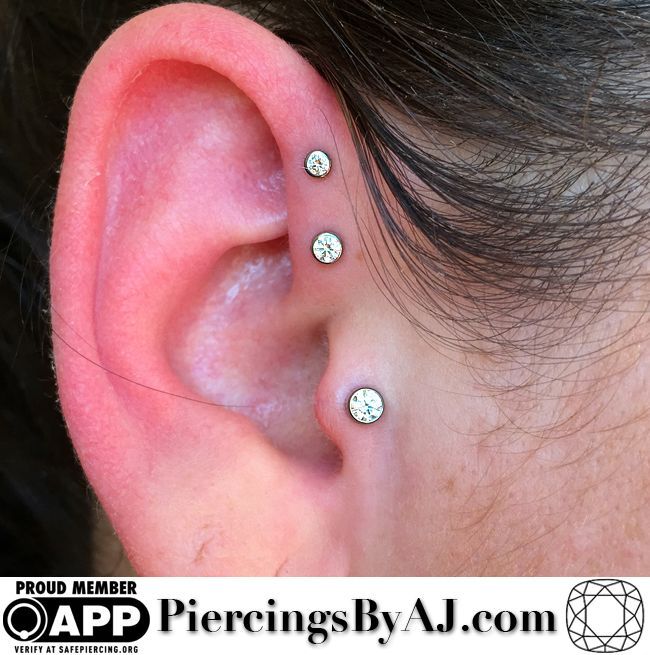 Fresh double forward helix and tragus combination featuring 2mm, 2.5mm, and 3mm bezel set CZ gems from anatometal