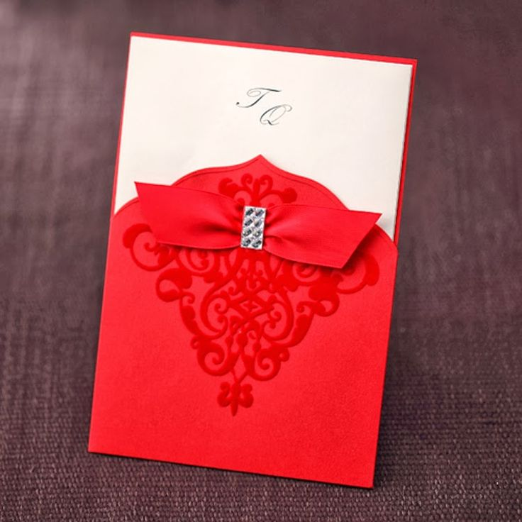 Wedding Invitation With Red Velet And Rhinestone