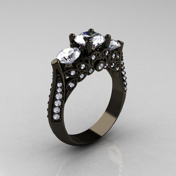 Adelaide Three Stone Solitare Black Gold Sterling Silver with Clear CZ Ring