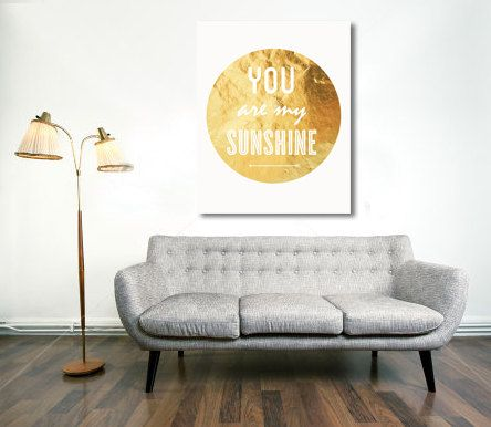 Typography Print, Gold Sunshine, Type Poster, Wall Decor, Love Quote, Couples, Gold Decor, Wedding Decor - You Are My Sunshine (8x10)