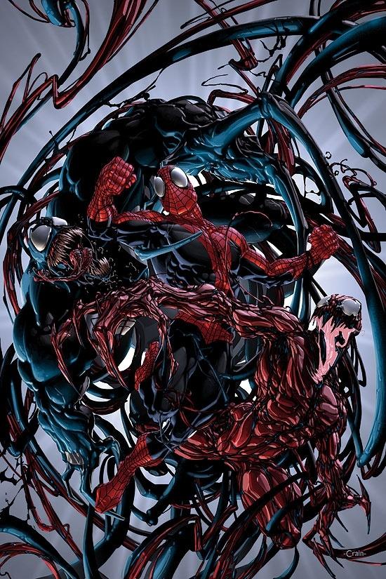 Venom and Carnage vs Spider-Man by Clayton Crain