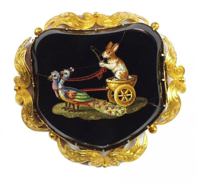 Micro Mosaic Depicting A Smiling Bunny Driving A Biga (Two-Horsed Chariot) Let By Two Peacocks Mounted In Gold, A Later Addition   c.1850