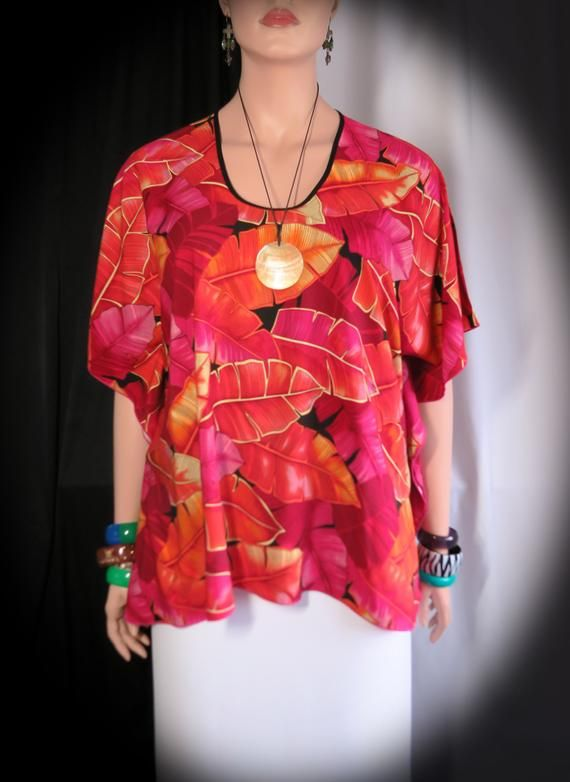 93c3fbb1a7279 Sunset Palms Hawaiian Polynesian Woman's Butterfly caftan, Cover-up Shirt  tunic travel - Made in Hawaii - Fits Plus L to XL or 2XL